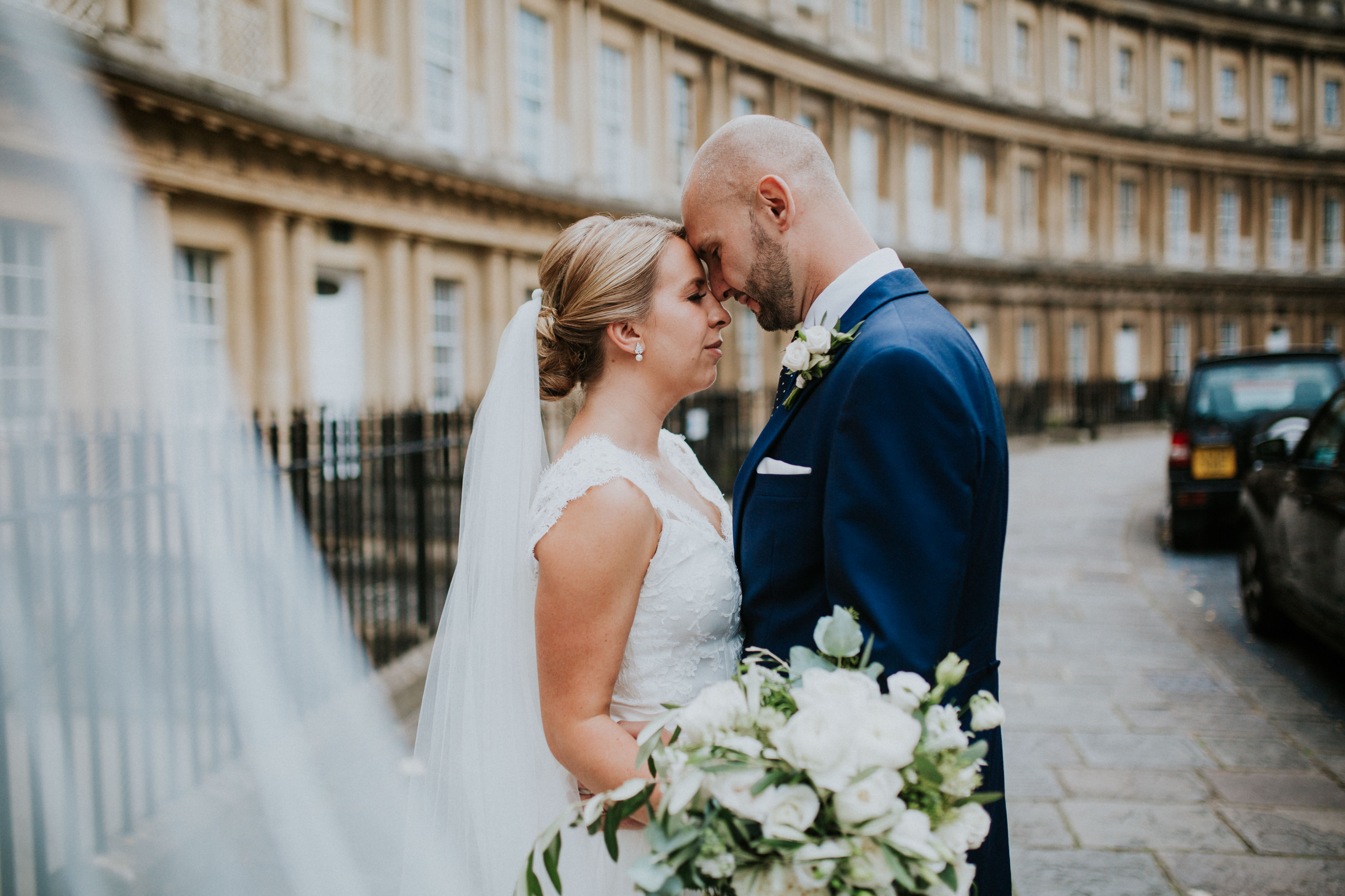 bride and groom portraits in bath square