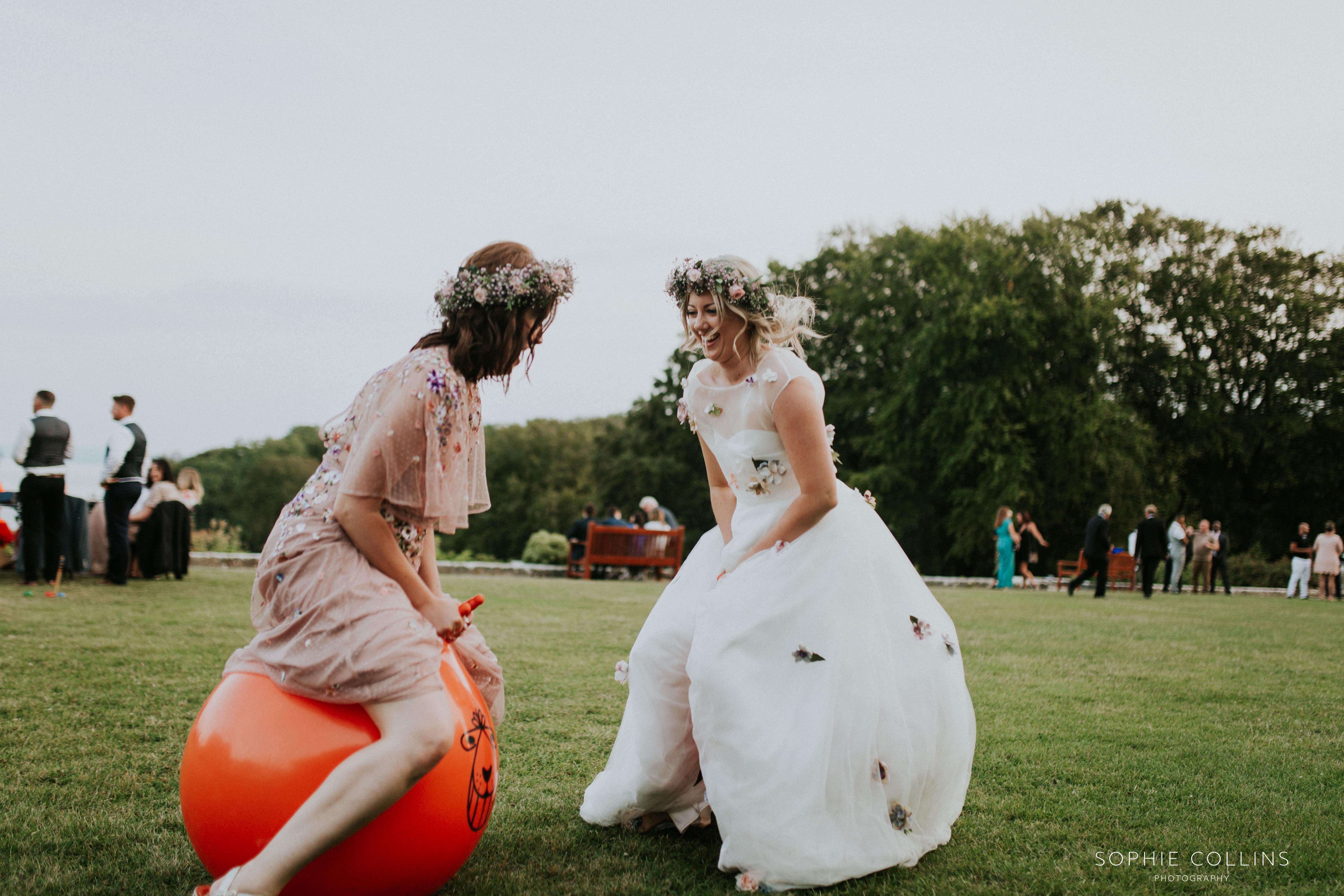 bride on space hopper