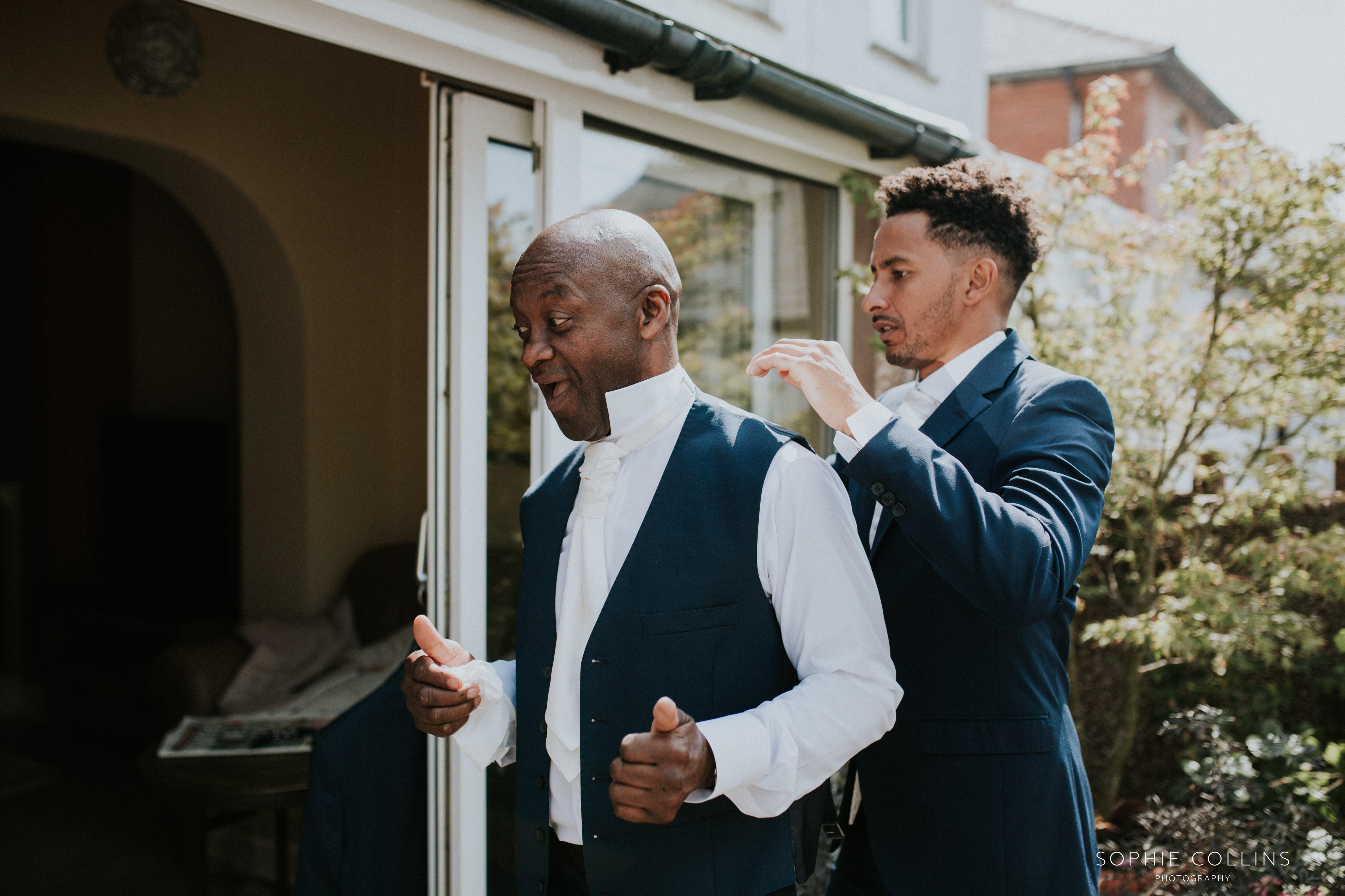 groom dressing dad
