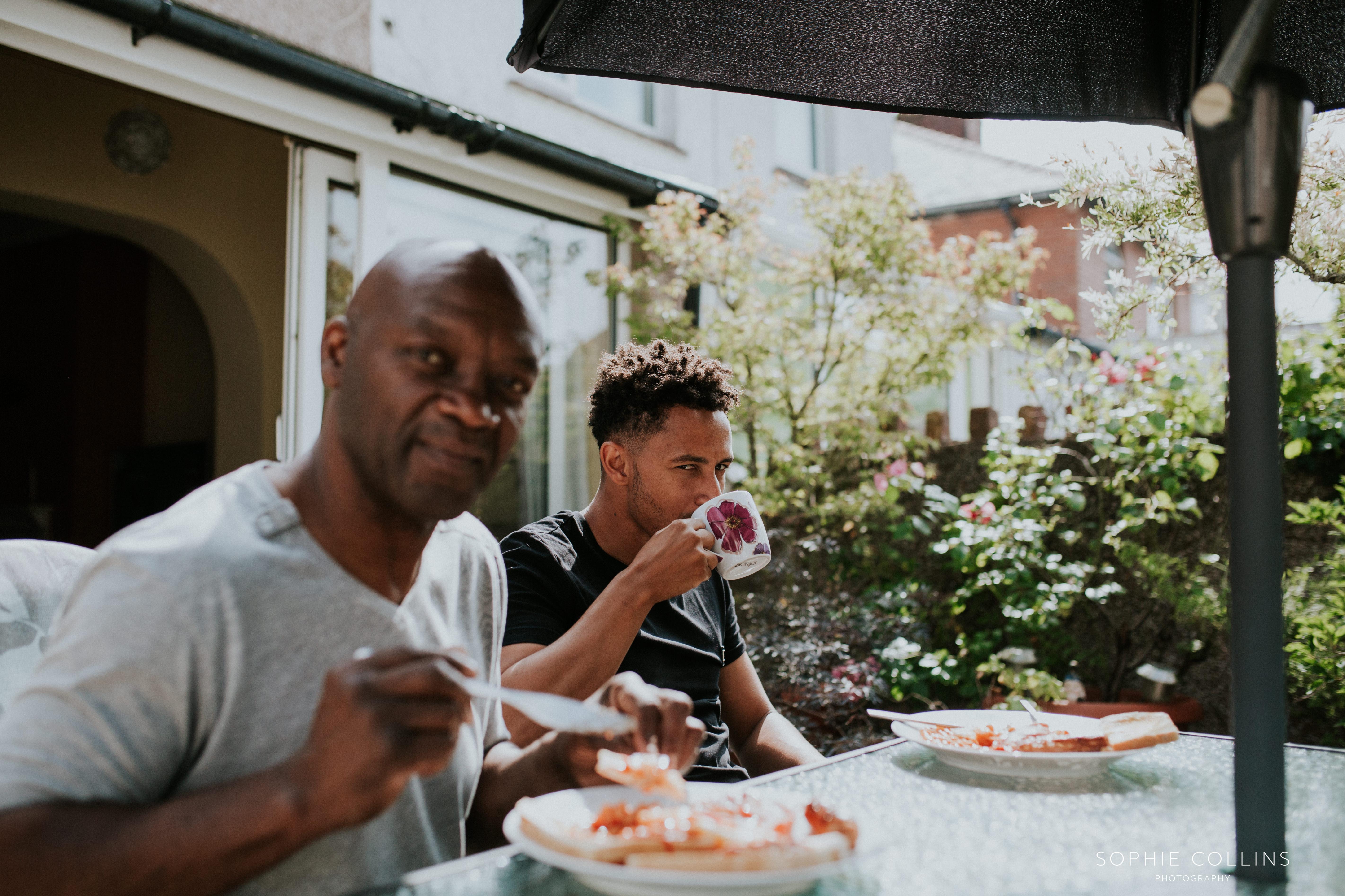 groom having breakfast