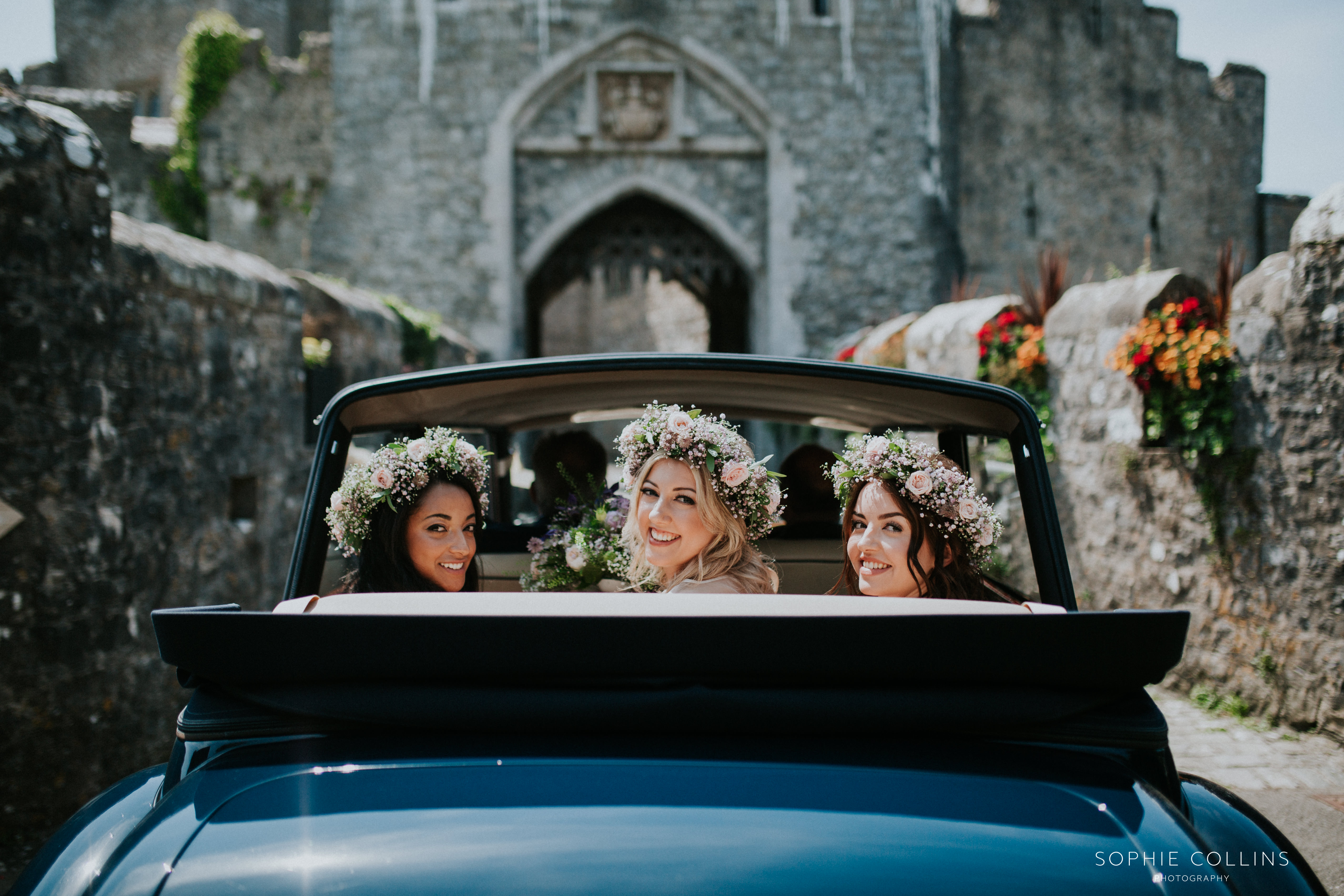 bridesmaids in the car