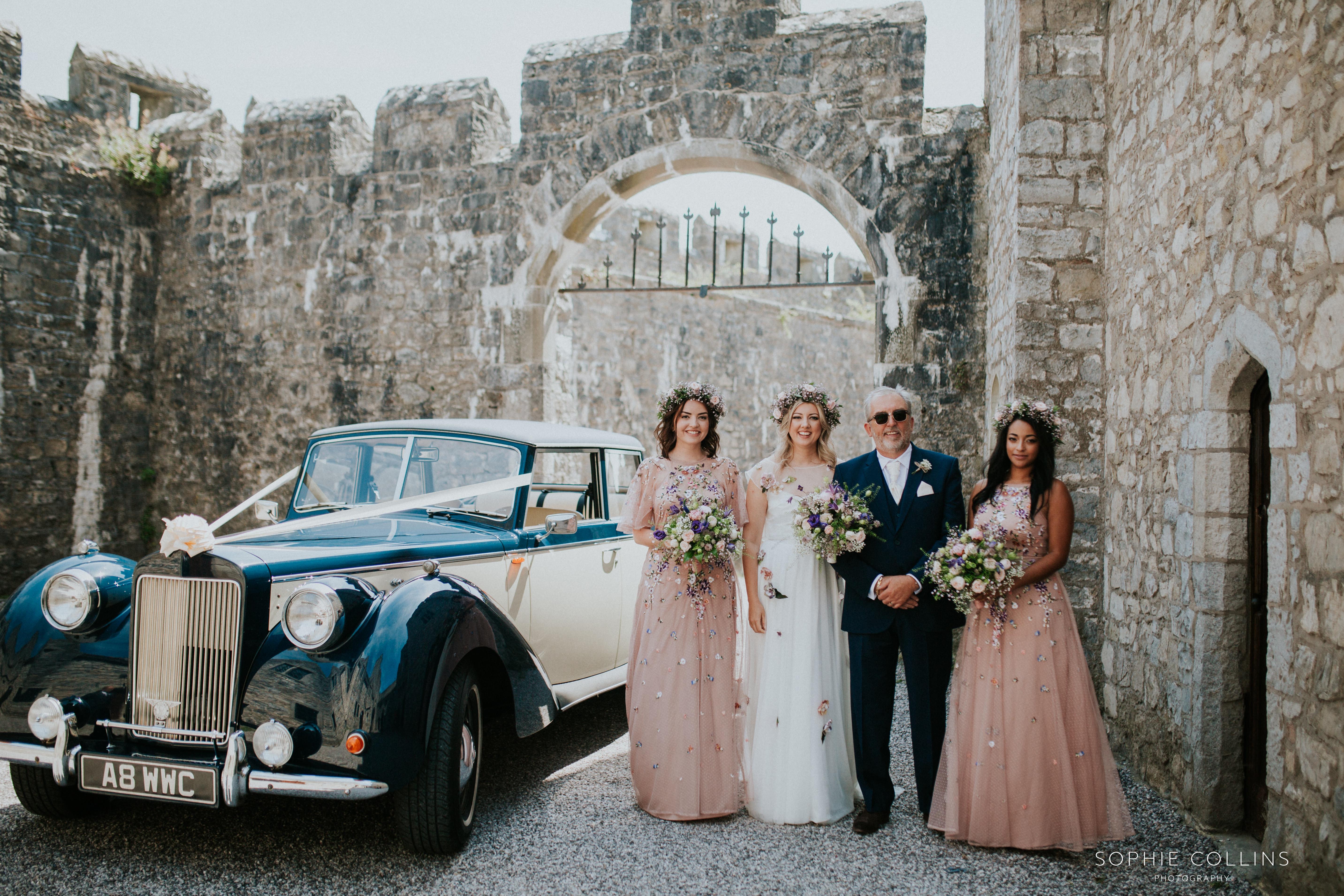bride, dad and bridesmaids