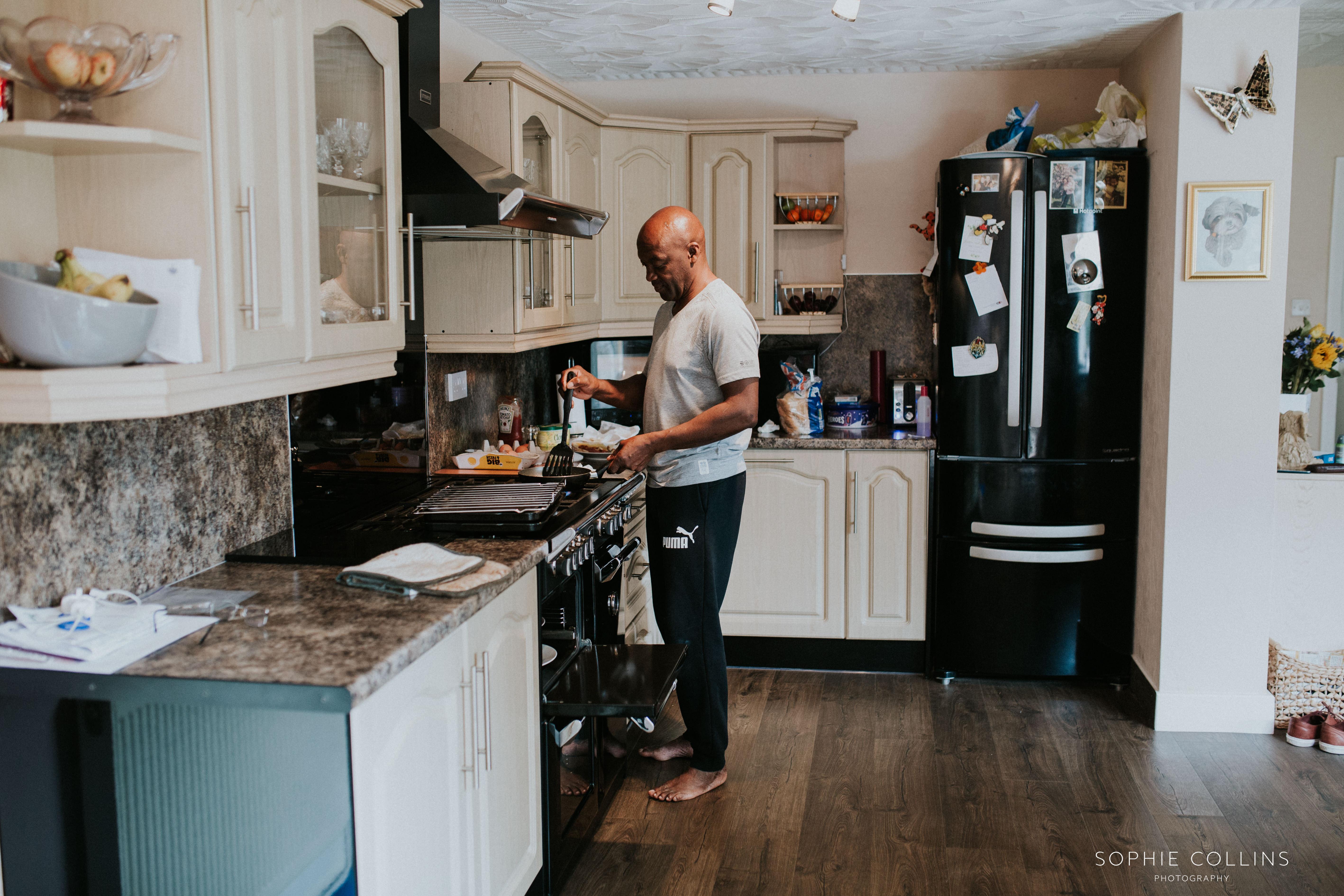 grooms dad making breakfast