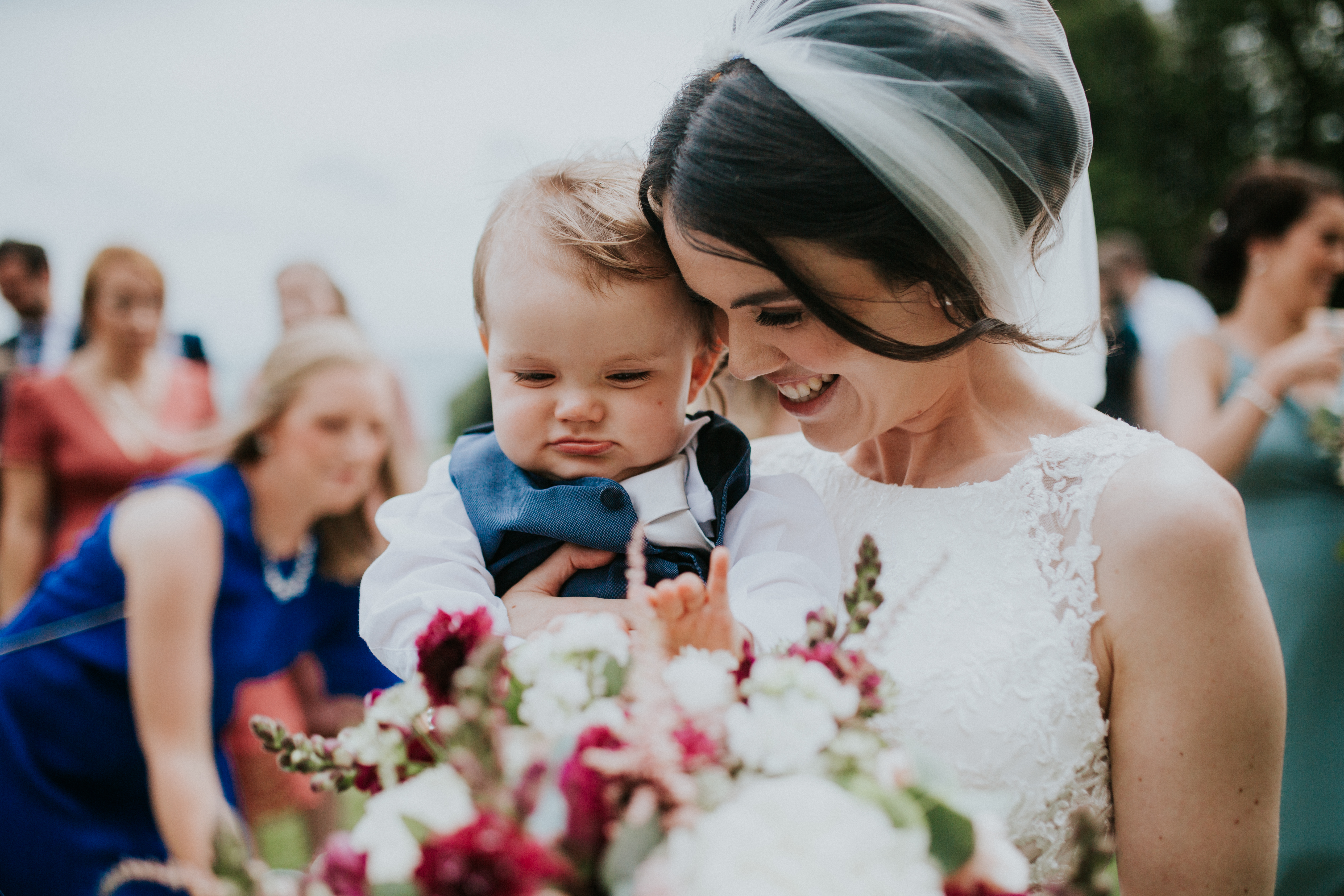 bride and baby